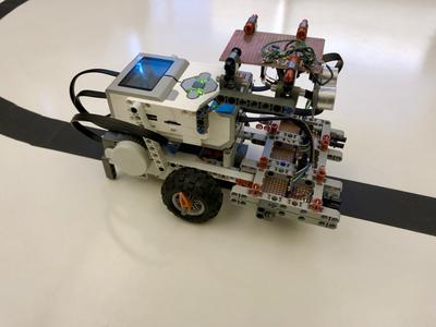 A line following robot comprised of a Lego EV3 and hand-soldered sensor circuits